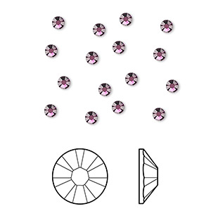 flat back, swarovski crystal rhinestone, amethyst, foil back, 2.5-2.7mm xilion rose (2058), ss9. sold per pkg of 12.