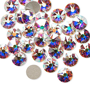 flat back, swarovski crystal rhinestone, crystal ab, foil back, 7.07-7.27mm xirius rose (2088), ss34. sold per pkg of 144 (1 gross).