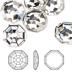 flat back, swarovski crystal rhinestone, crystal clear, foil back, 14mm solaris (2611). sold per pkg of 48.