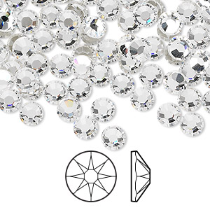 flat back, swarovski crystal rhinestone, crystal clear, foil back, 4.6-4.8mm xirius rose (2088), ss20. sold per pkg of 1,440 (10 gross).