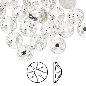 flat back, swarovski crystal rhinestone, crystal clear, foil back, 8.4-8.67mm xirius rose (2088), ss40. sold per pkg of 144 (1 gross).