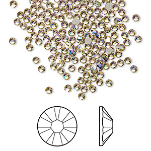 flat back, swarovski crystal rhinestone, crystal luminous green, foil back, 2.1-2.3mm xilion rose (2058), ss7. sold per pkg of 1,440 (10 gross).