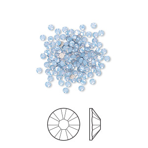 flat back, swarovski crystal rhinestone, crystal passions, air blue opal, foil back, 1.7-1.9mm xilion rose (2058), ss5. sold per pkg of 144 (1 gross).