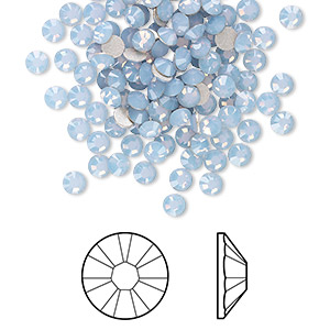 flat back, swarovski crystal rhinestone, crystal passions, air blue opal, foil back, 3-3.2mm xirius rose (2088), ss12. sold per pkg of 12.