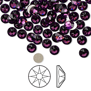 flat back, swarovski crystal rhinestone, crystal passions, amethyst, foil back, 4.6-4.8mm xirius rose (2088), ss20. sold per pkg of 144 (1 gross).