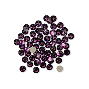 flat back, swarovski crystal rhinestone, crystal passions, amethyst, foil back, 3-3.2mm xirius rose (2088), ss12. sold per pkg of 12.