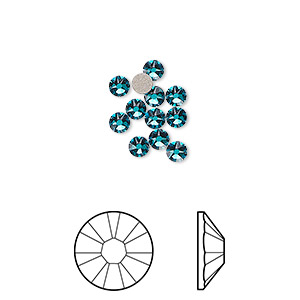 flat back, swarovski crystal rhinestone, crystal passions, blue zircon, foil back, 3-3.2mm xirius rose (2088), ss12. sold per pkg of 12.