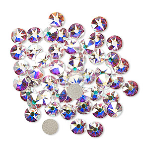 flat back, swarovski crystal rhinestone, crystal passions, crystal ab, foil back, 4.6-4.8mm xirius rose (2088), ss20. sold per pkg of 12.