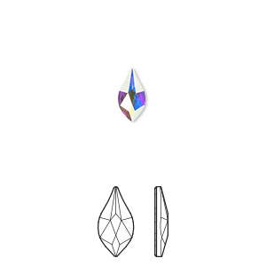 flat back, swarovski crystal rhinestone, crystal passions, crystal ab, foil back, 7.5mm faceted flame (2205). sold per pkg of 48.