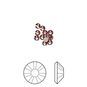 flat back, swarovski crystal rhinestone, crystal passions, crystal antique pink, foil back, 2.5-2.7mm xilion rose (2058), ss9. sold per pkg of 12.