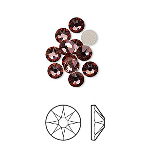 flat back, swarovski crystal rhinestone, crystal passions, crystal antique pink, foil back, 4.6-4.8mm xirius rose (2088), ss20. sold per pkg of 12.