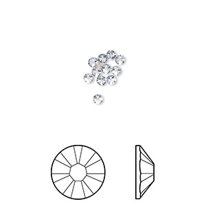 flat back, swarovski crystal rhinestone, crystal passions, crystal blue shade, foil back, 2.1-2.3mm xilion rose (2058), ss7. sold per pkg of 12.