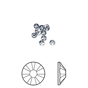 flat back, swarovski crystal rhinestone, crystal passions, crystal blue shade, foil back, 2.5-2.7mm xilion rose (2058), ss9. sold per pkg of 12.
