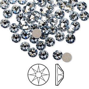 flat back, swarovski crystal rhinestone, crystal passions, crystal blue shade, foil back, 4.6-4.8mm xirius rose (2088), ss20. sold per pkg of 144 (1 gross).
