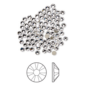 flat back, swarovski crystal rhinestone, crystal passions, crystal clear, foil back, 2.1-2.3mm xilion rose (2058), ss7. sold per pkg of 144 (1 gross).