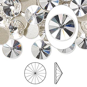 flat back, swarovski crystal rhinestone, crystal passions, crystal clear, foil back, 10mm faceted rivoli (2006). sold per pkg of 4.