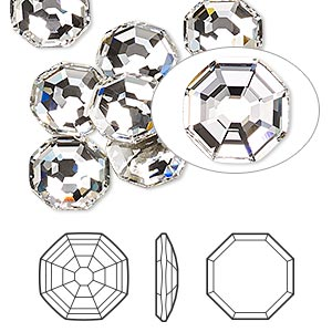 flat back, swarovski crystal rhinestone, crystal passions, crystal clear, foil back, 10mm solaris (2611). sold per pkg of 24.
