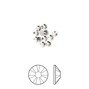 flat back, swarovski crystal rhinestone, crystal passions, crystal metallic light gold, foil back, 2.5-2.7mm xilion rose (2058), ss9. sold per pkg of 12.