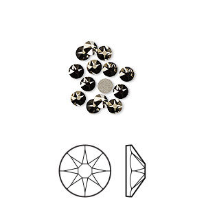 flat back, swarovski crystal rhinestone, crystal passions, crystal metallic light gold, foil back, 3-3.2mm xirius rose (2088), ss12. sold per pkg of 12.