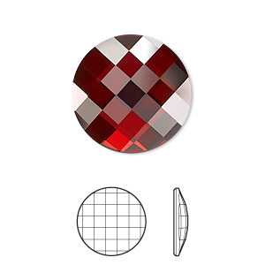 flat back, swarovski crystal rhinestone, crystal passions, crystal red magma, foil back, 20mm faceted chessboard round (2035). sold per pkg of 4.