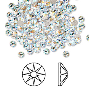 flat back, swarovski crystal rhinestone, crystal passions, crystal shimmer, foil back, 3-3.2mm xirius rose (2088), ss12. sold per pkg of 144 (1 gross).