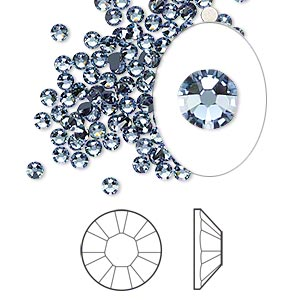 flat back, swarovski crystal rhinestone, crystal passions, denim blue, foil back, 2.5-2.7mm xilion rose (2058), ss9. sold per pkg of 144 (1 gross).