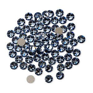 flat back, swarovski crystal rhinestone, crystal passions, denim blue, foil back, 3-3.2mm xirius rose (2088), ss12. sold per pkg of 144 (1 gross).