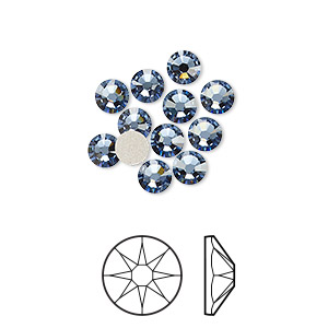 flat back, swarovski crystal rhinestone, crystal passions, denim blue, foil back, 4.6-4.8mm xirius rose (2088), ss20. sold per pkg of 12.