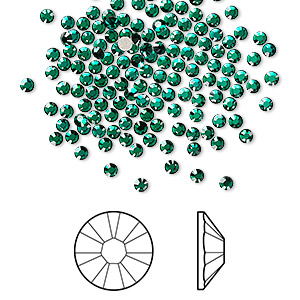 flat back, swarovski crystal rhinestone, crystal passions, emerald, foil back, 2.1-2.3mm xilion rose (2058), ss7. sold per pkg of 144 (1 gross).