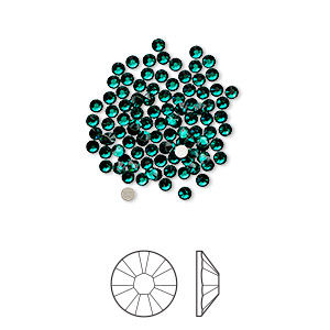 flat back, swarovski crystal rhinestone, crystal passions, emerald, foil back, 1.7-1.9mm xilion rose (2058), ss5. sold per pkg of 12.