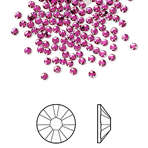 flat back, swarovski crystal rhinestone, crystal passions, fuchsia, foil back, 2.1-2.3mm xilion rose (2058), ss7. sold per pkg of 144 (1 gross).