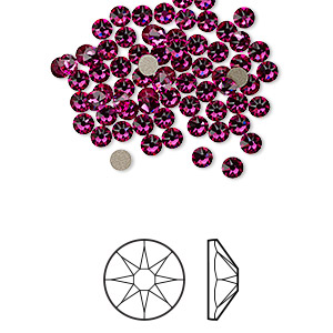 flat back, swarovski crystal rhinestone, crystal passions, fuchsia, foil back, 3-3.2mm xirius rose (2088), ss12. sold per pkg of 144 (1 gross).