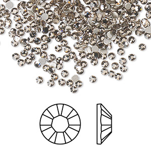 flat back, swarovski crystal rhinestone, crystal passions, greige, foil back, 2.1-2.3mm xilion rose (2058), ss7. sold per pkg of 144 (1 gross).