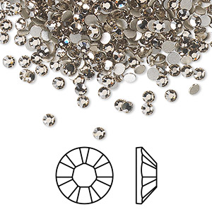 flat back, swarovski crystal rhinestone, crystal passions, greige, foil back, 2.5-2.7mm xilion rose (2028), ss9. sold per pkg of 12.