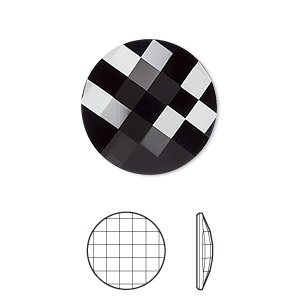 flat back, swarovski crystal rhinestone, crystal passions, jet, 20mm faceted chessboard round (2035). sold per pkg of 4.