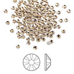 flat back, swarovski crystal rhinestone, crystal passions, light colorado topaz, foil back, 2.1-2.3mm xilion rose (2058), ss7. sold per pkg of 144 (1 gross).