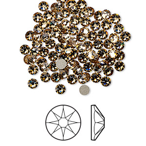 flat back, swarovski crystal rhinestone, crystal passions, light colorado topaz, foil back, 3-3.2mm xirius rose (2088), ss12. sold per pkg of 144 (1 gross).