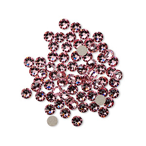 flat back, swarovski crystal rhinestone, crystal passions, light rose, foil back, 3-3.2mm xirius rose (2088), ss12. sold per pkg of 12.