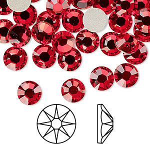 flat back, swarovski crystal rhinestone, crystal passions, light siam, foil back, 7.07-7.27mm xirius rose (2088), ss34. sold per pkg of 12.