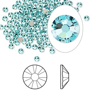 flat back, swarovski crystal rhinestone, crystal passions, light turquoise, foil back, 2.5-2.7mm xilion rose (2058), ss9. sold per pkg of 144 (1 gross).