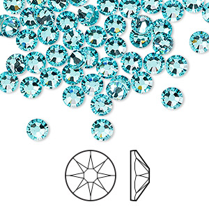 flat back, swarovski crystal rhinestone, crystal passions, light turquoise, foil back, 4.6-4.8mm xirius rose (2088), ss20. sold per pkg of 144 (1 gross).