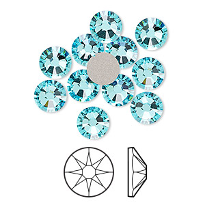 flat back, swarovski crystal rhinestone, crystal passions, light turquoise, foil back, 7.07-7.27mm xirius rose (2088), ss34. sold per pkg of 12.