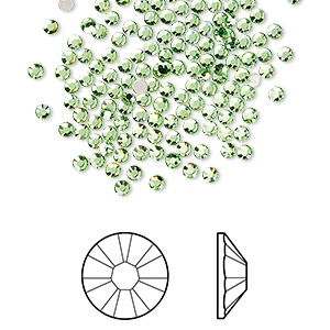 flat back, swarovski crystal rhinestone, crystal passions, peridot, foil back, 2.1-2.3mm xilion rose (2058), ss7. sold per pkg of 144 (1 gross).
