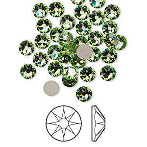 flat back, swarovski crystal rhinestone, crystal passions, peridot, foil back, 4.6-4.8mm xirius rose (2088), ss20. sold per pkg of 144 (1 gross).