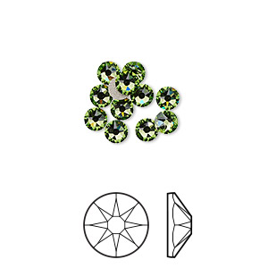 flat back, swarovski crystal rhinestone, crystal passions, peridot, foil back, 3.8-4mm xirius rose (2088), ss16. sold per pkg of 12.