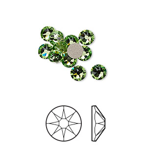 flat back, swarovski crystal rhinestone, crystal passions, peridot, foil back, 4.6-4.8mm xirius rose (2088), ss20. sold per pkg of 12.