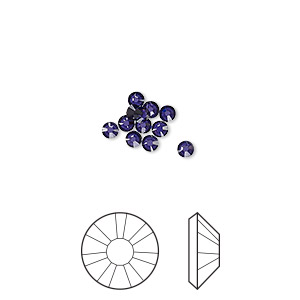 flat back, swarovski crystal rhinestone, crystal passions, purple velvet, foil back, 2.5-2.7mm xilion rose (2058), ss9. sold per pkg of 12.