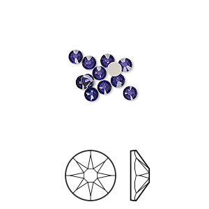flat back, swarovski crystal rhinestone, crystal passions, purple velvet, foil back, 3-3.2mm xirius rose (2088), ss12. sold per pkg of 12.