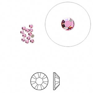 flat back, swarovski crystal rhinestone, crystal passions, rose, foil back, 1.7-1.9mm xilion rose (2058), ss5. sold per pkg of 12.