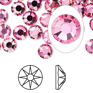 flat back, swarovski crystal rhinestone, crystal passions, rose, foil back, 7.07-7.27mm xirius rose (2088), ss34. sold per pkg of 12.